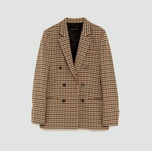 Zara woman check coat in tan